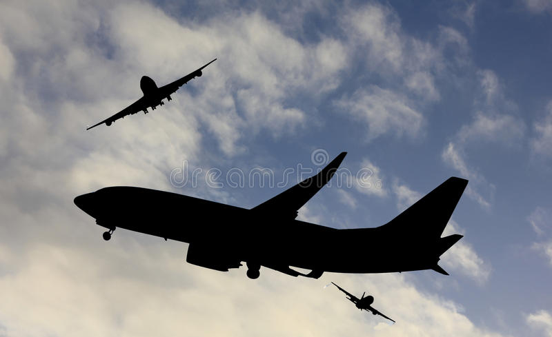 Trafic aérien occupé photographie stock libre de droits