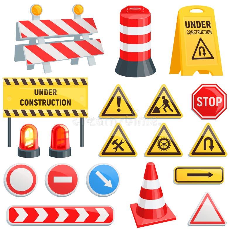 Trafic-barrière de rue de vecteur de barrière de route en construction avertissant des blocs de barricade sur l'ensemble d'illust illustration libre de droits