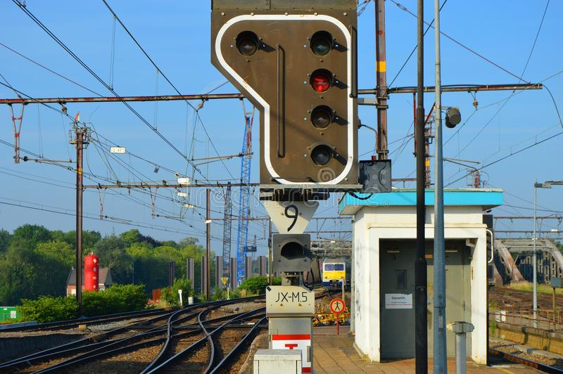 Trafic light railway. Trafic light to control train trafic on the railway system royalty free stock photo