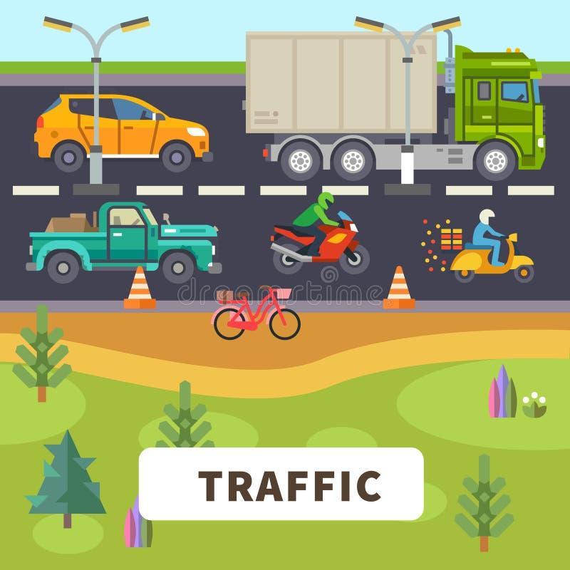 trafik stock illustrationer