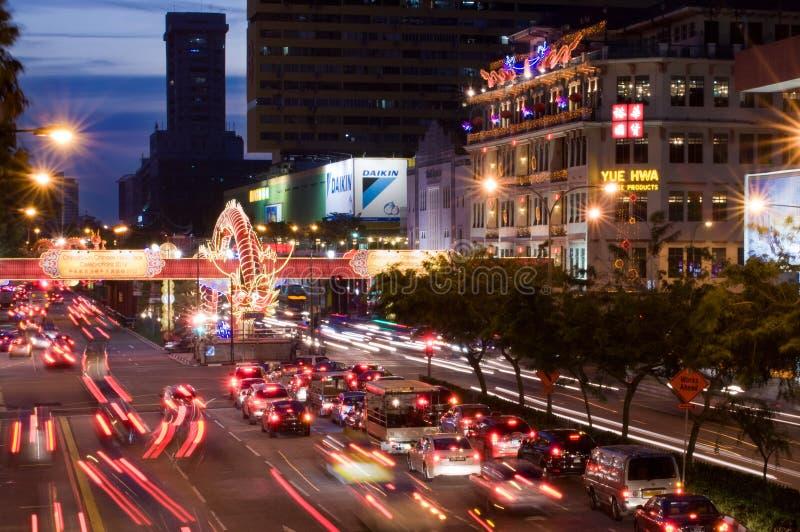 trafik för chinatown festivalfjäder arkivbilder