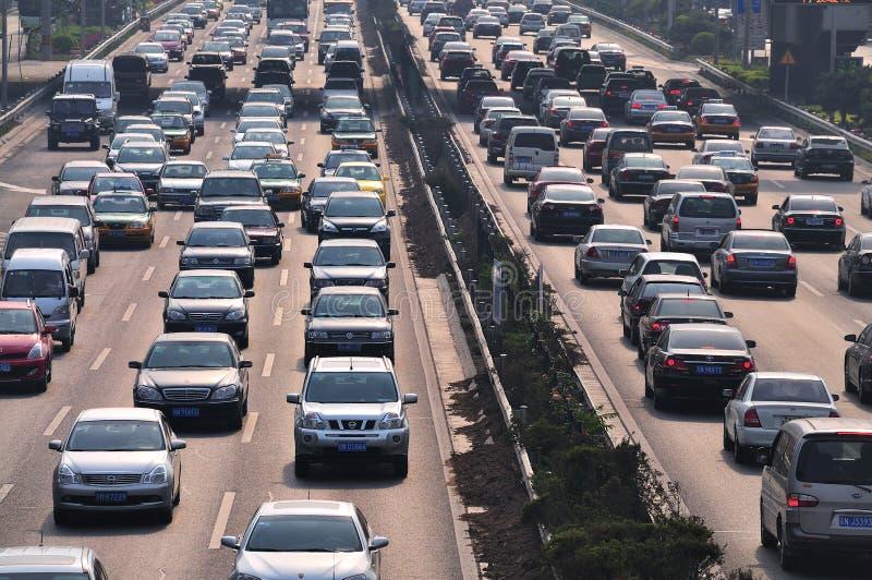 trafik för driftstopp för beijing bilar tung royaltyfria foton