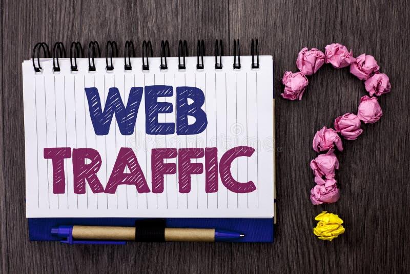 Trafik för handskrifttextrengöringsduk För internetökning för begreppet som bokar menande tittare för kunder för besök för åhörar arkivfoton