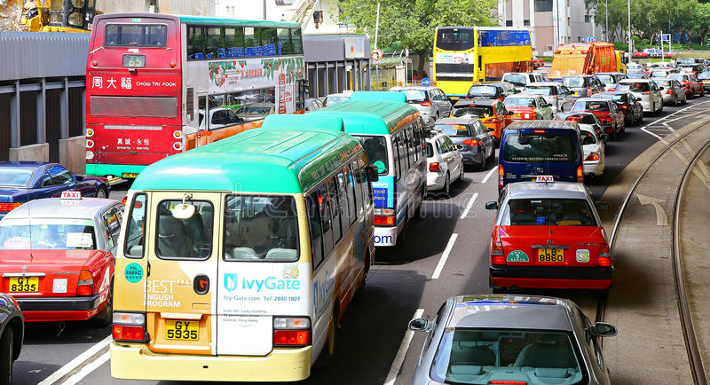 trafik för hong driftstoppkong royaltyfri bild