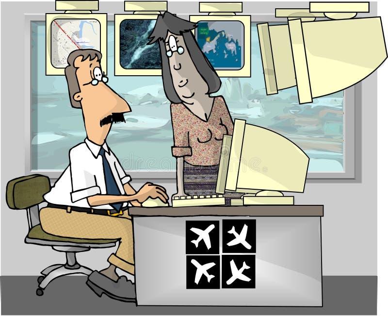 trafik för luftkontrollanter stock illustrationer