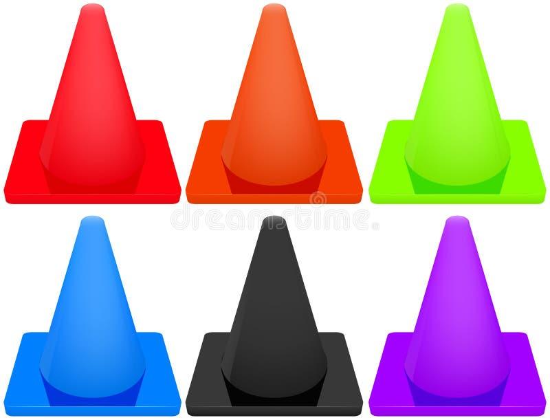 trafik för väg för färgkottebilaga set royaltyfri illustrationer