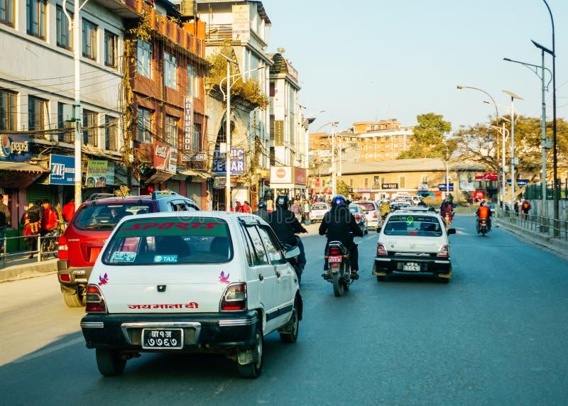 Trafik i Katmandu, Nepal royaltyfri bild
