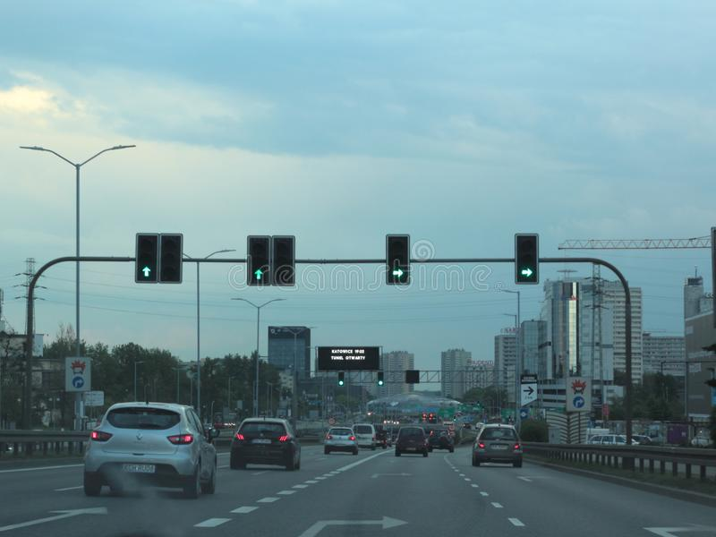 Trafik i Katowice, Polen fotografering för bildbyråer