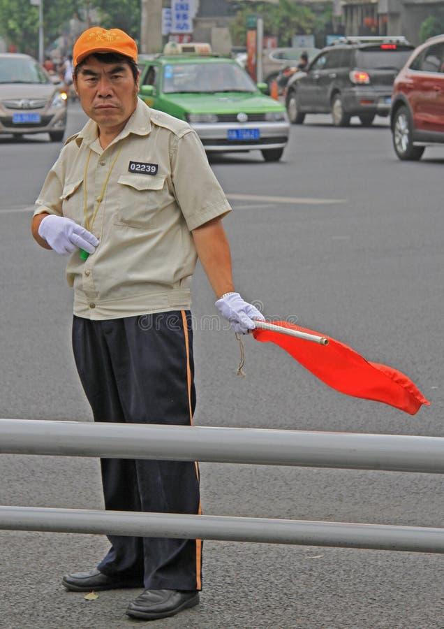 Trafik-kontrollanten arbetar på genomskärningen, Chengdu royaltyfria foton