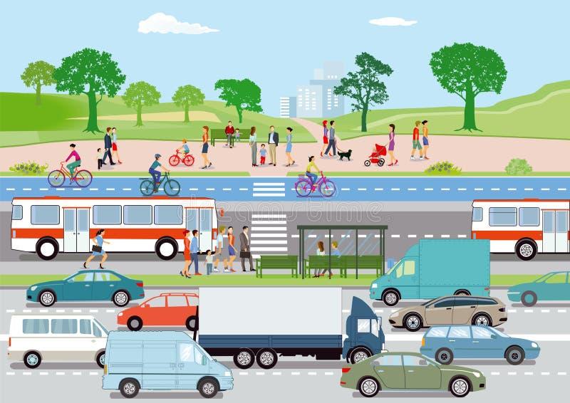 Trafik med gångare och cyklister royaltyfri illustrationer