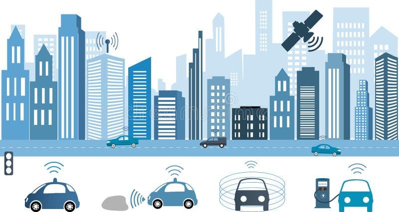 Trafik och trådlöst nätverk, intelligenta transportsystem vektor illustrationer