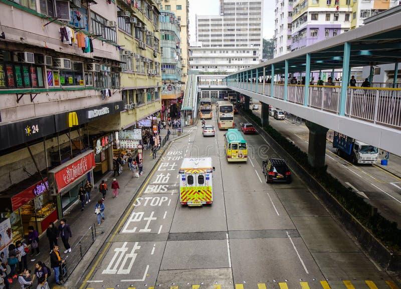 Trafik på centret i Hong Kong arkivfoton