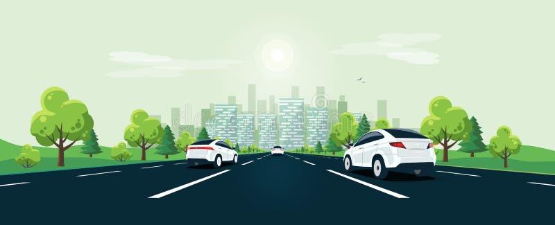 Trafik på sikten för försvinna punkt för vägperspektivhorisont med stadshorisont stock illustrationer