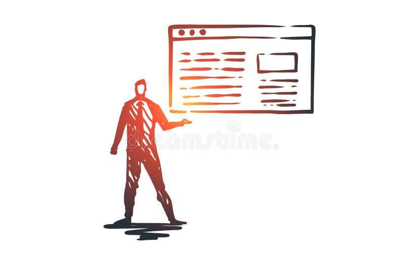 Trafik website, internet, teknologi, digitalt begrepp Hand dragen isolerad vektor stock illustrationer
