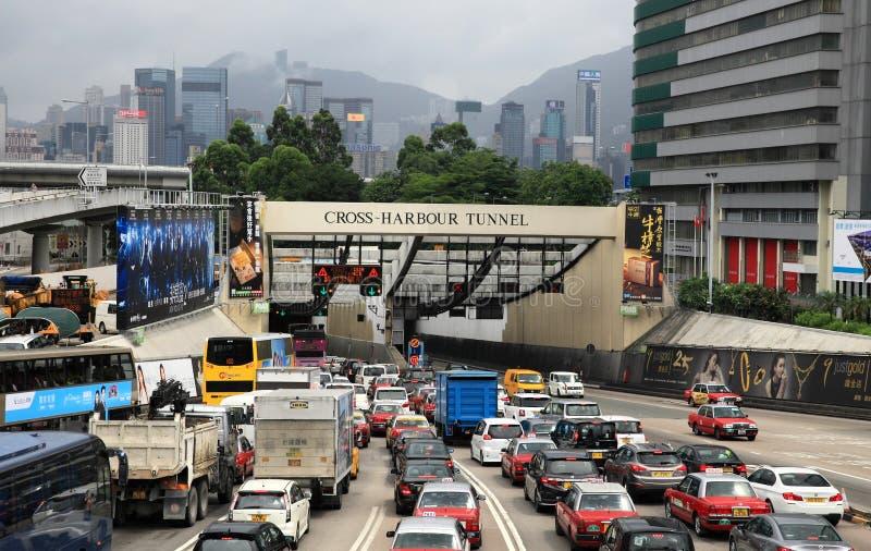 Trafikblodstockning på den arga hamntunnelen arkivbilder