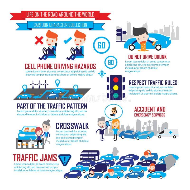 Trafikera i staden, infographic tecknad filmtecken vektor illustrationer