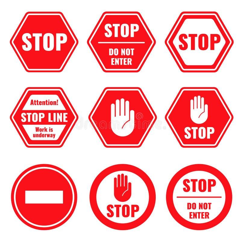 Trafikera isolerat inskränkta och farliga vektortecken för stoppet, royaltyfri illustrationer