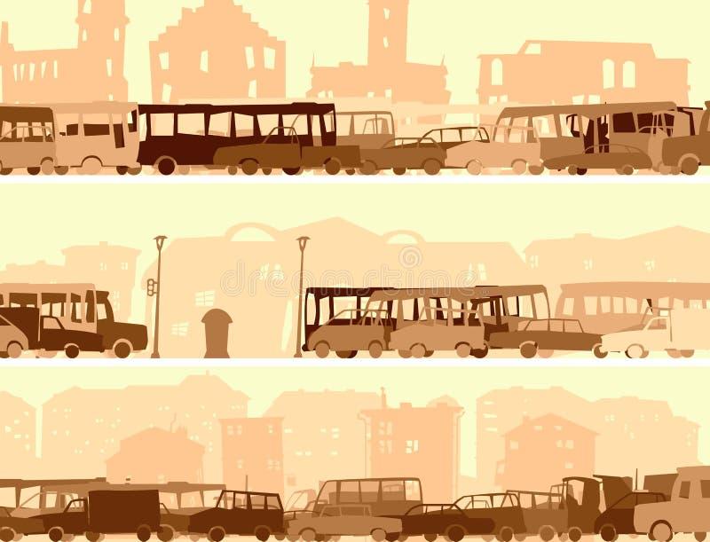 Horisontalbanret med bilar för en radda, bussar på gatan. vektor illustrationer