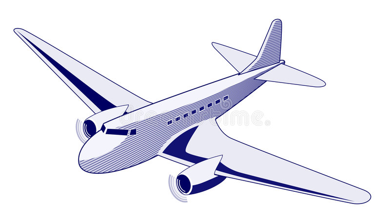 trafikflygplan dc3 vektor illustrationer
