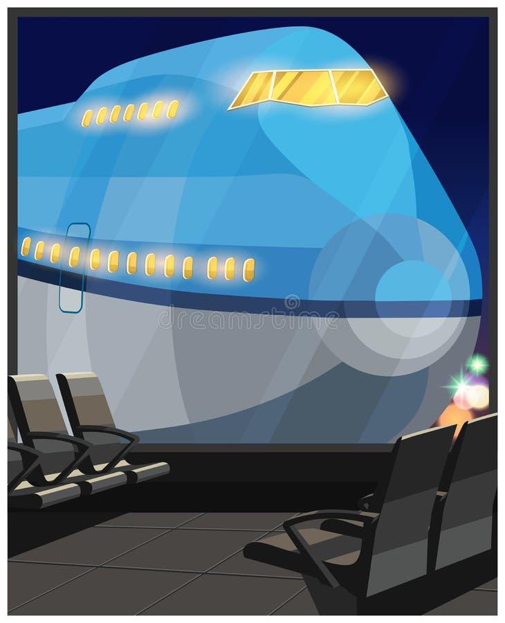 Trafikflygplan på natten royaltyfri illustrationer