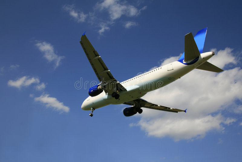 trafikflygplancommercial royaltyfri foto