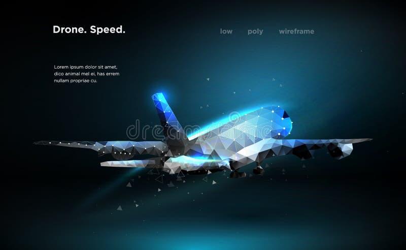 Trafikflygplanflygplanhastighet som en flygatrafikflygplan ?r en illustration f?r b?sta sikt, utf?rs i form av partiklar, geometr royaltyfri bild