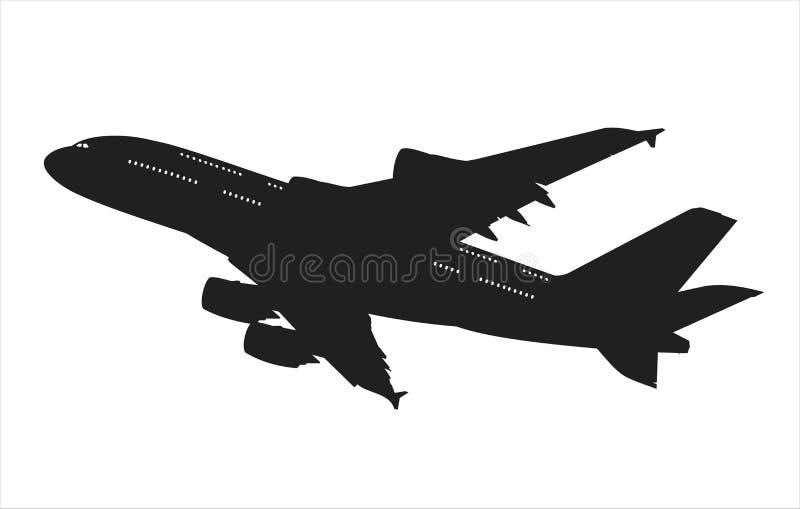 trafikflygplansilhouette royaltyfri illustrationer