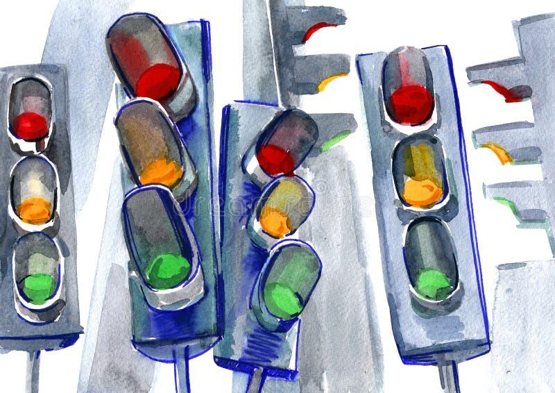 Trafikljus stock illustrationer
