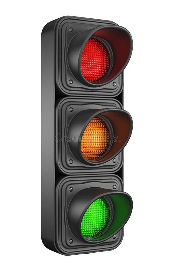Trafikljus 3d. Rörelsevägkontroll vektor illustrationer
