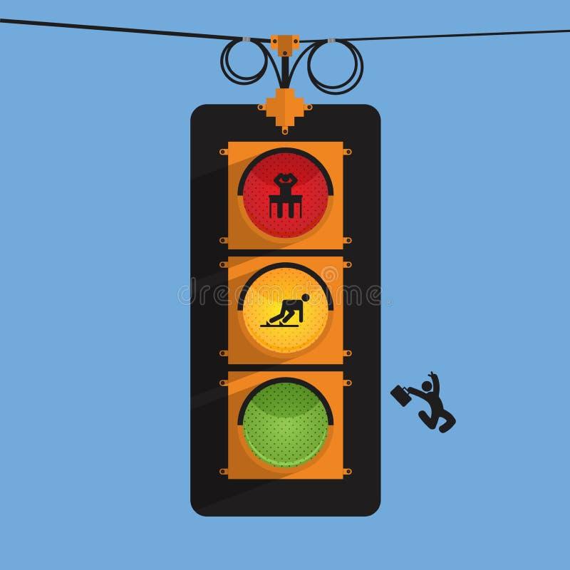 Trafikljus med affärsmansymbolen i tre handling, spänning, startar upp, hoppet, vektor illustrationer
