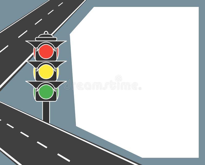 Trafikljus med beståndsdelar av vägen och den delande remsan, teckning Vektor med utrymme för text, baner, vykort royaltyfri illustrationer