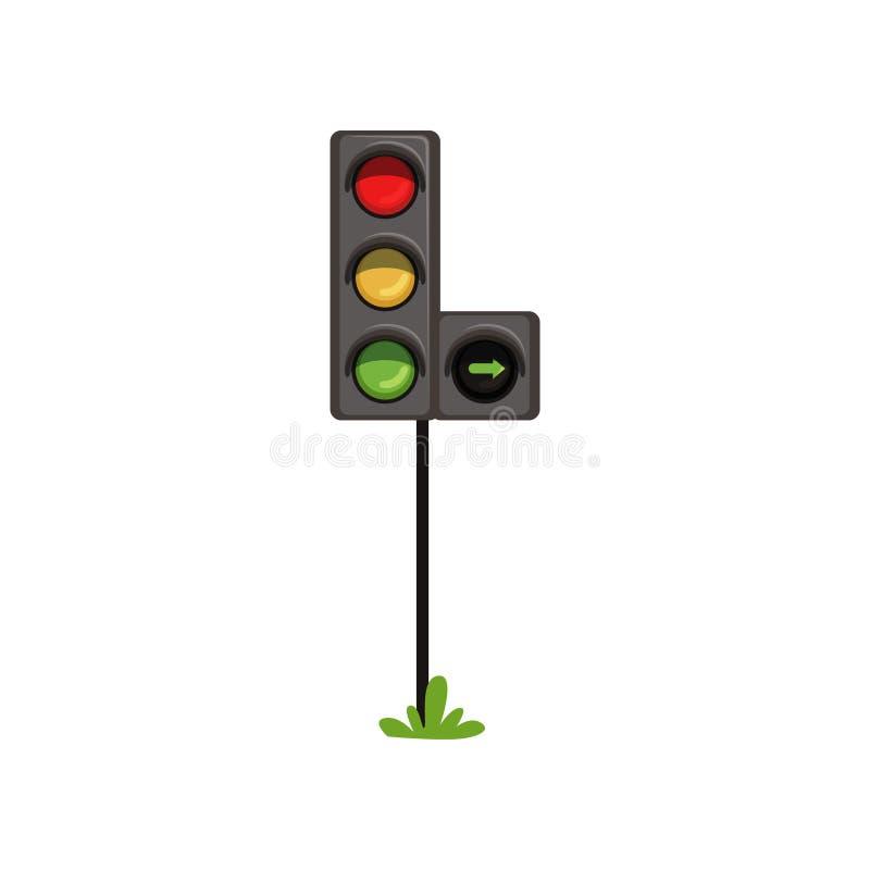 Trafikljus med höger vänd för extra avsnitt Vägsemafor med färgrika lampor som är röda som är gula och som är gröna plant stock illustrationer