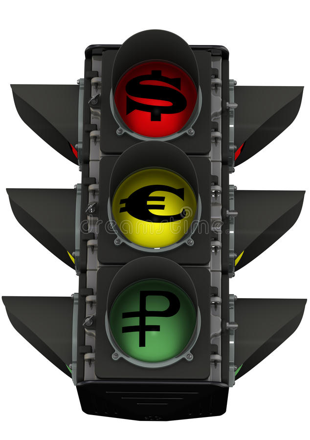 Trafikljus med valutasymboler vektor illustrationer
