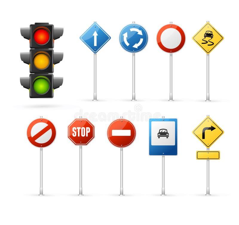 Trafikljus- och vägmärkeuppsättning vektor stock illustrationer