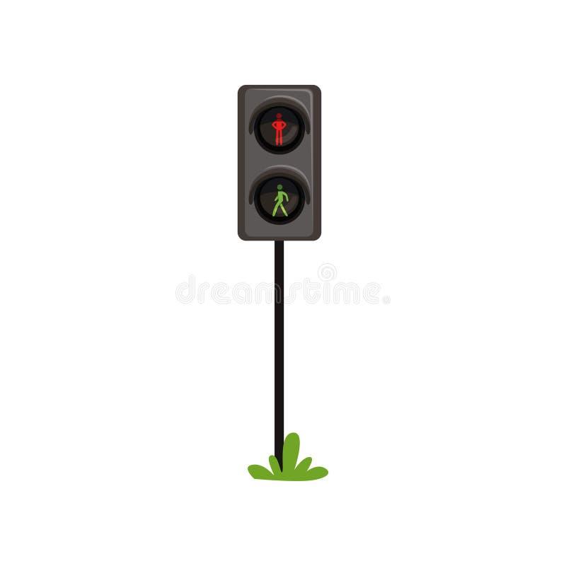 Trafikljus som reglerar rörelse av gångare till och med övergångsställe Semafor med konturn av mannen Rött - stock illustrationer