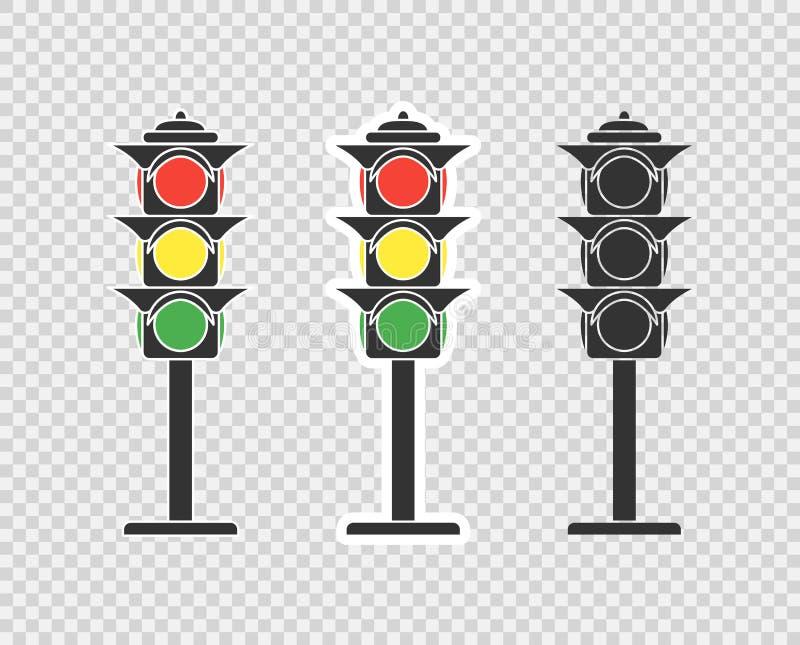 Trafikljus tecknad filmsymbol, klistermärke Vektorobjekt som isoleras på en genomskinlig bakgrund stock illustrationer