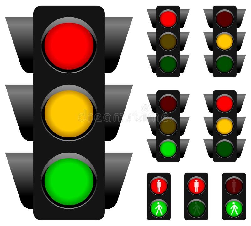 Trafikljussamling stock illustrationer