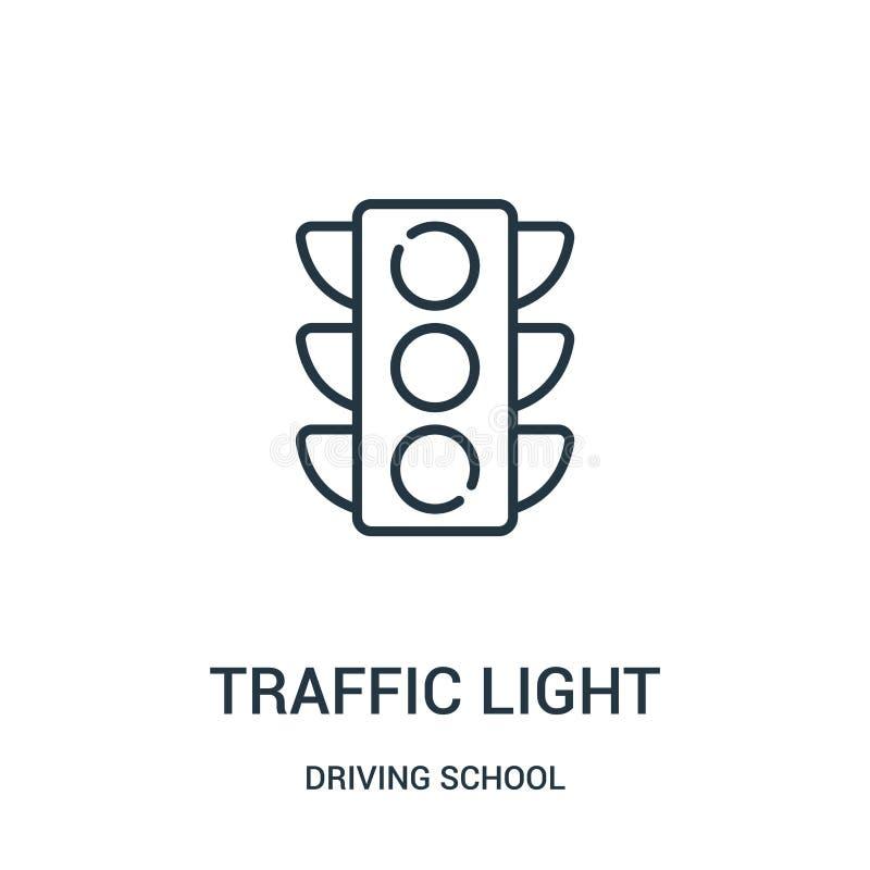 trafikljussymbolsvektor från körskolasamling Tunn linje illustration för vektor för trafikljusöversiktssymbol stock illustrationer
