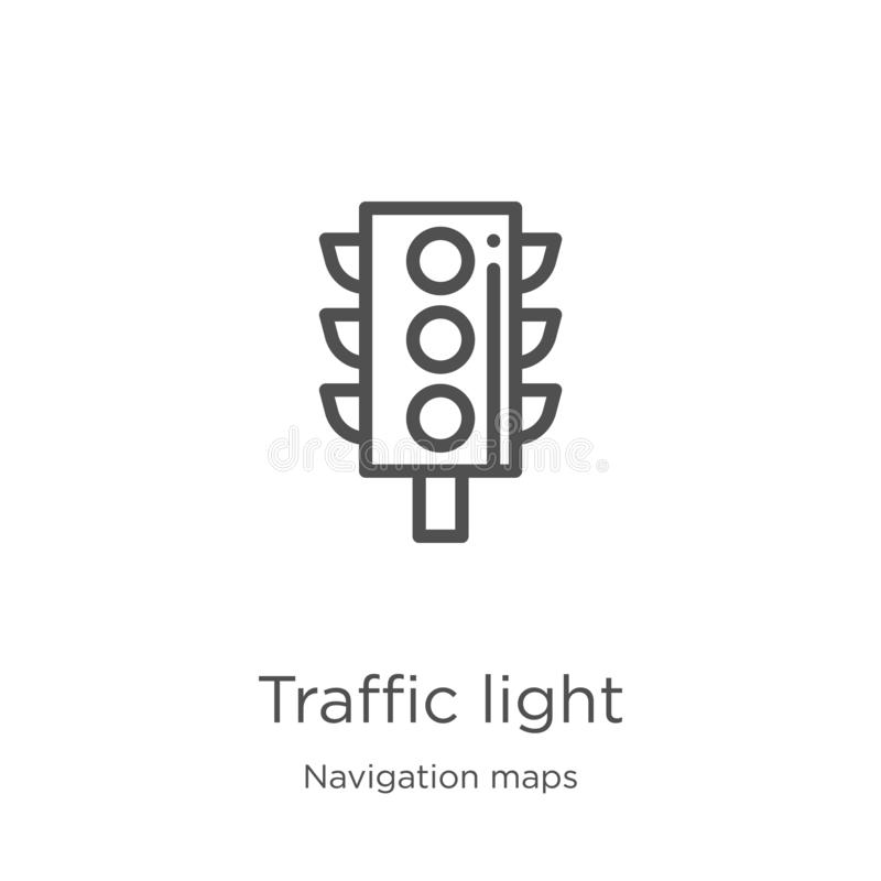 trafikljussymbolsvektor från navigeringöversiktssamling Tunn linje illustration f?r vektor f?r trafikljus?versiktssymbol ?versikt vektor illustrationer