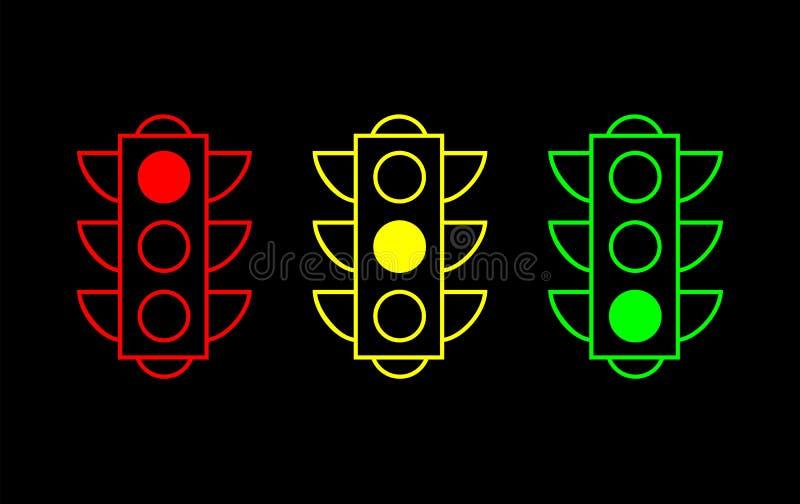 Trafikljusupps?ttning Tunn linje vektorknappar stock illustrationer