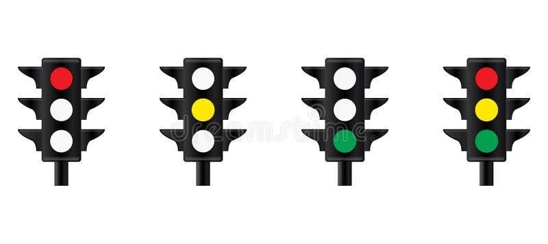 Trafikljusvektorillustration Tecken för stopp för trafikkontroll vektor illustrationer