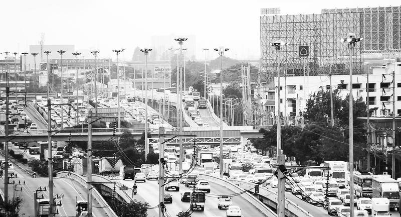 Trafikproblem i Bangkok i ledare arkivfoton