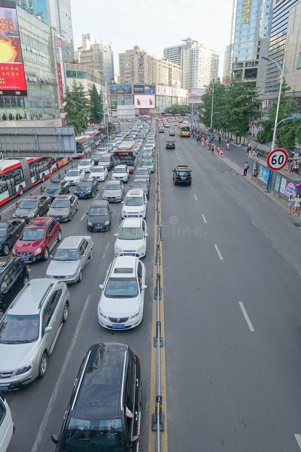 Trafikstockning Glasgow, chengdu porslin royaltyfri foto