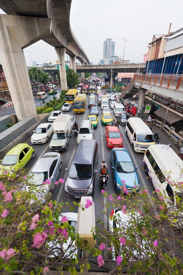 Trafikstockning i Bangkok arkivbild