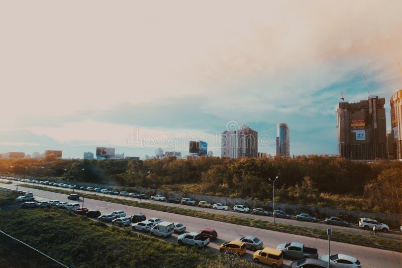 Trafikstockning i den Bangkok staden arkivbild