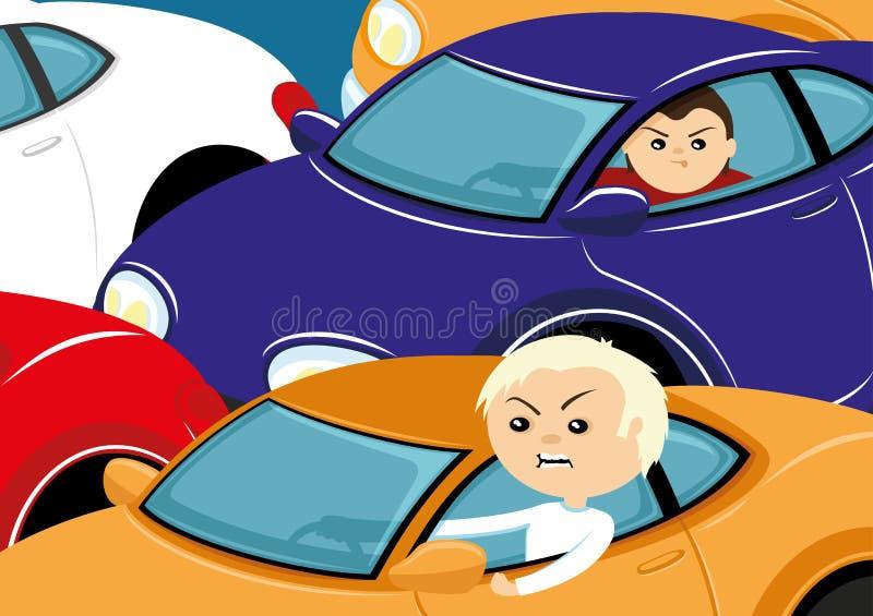 Trafikstockning med kulöra bilar royaltyfri illustrationer