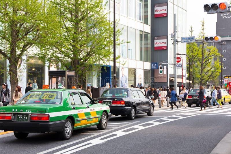 Trafikstockning på den huvudsakliga tvärgatan av Harajuku royaltyfria foton
