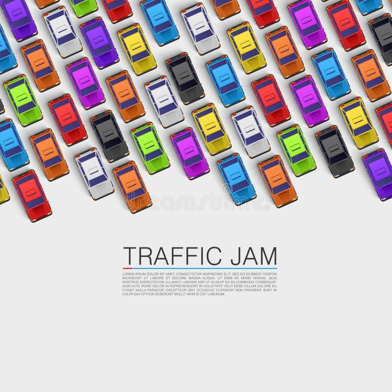 Trafikstockning på vägen stock illustrationer