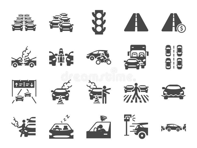 Trafikstockningsymbolsuppsättning Bland annat symboler som blodstockning, transport, bruten bil, väg och mer vektor illustrationer