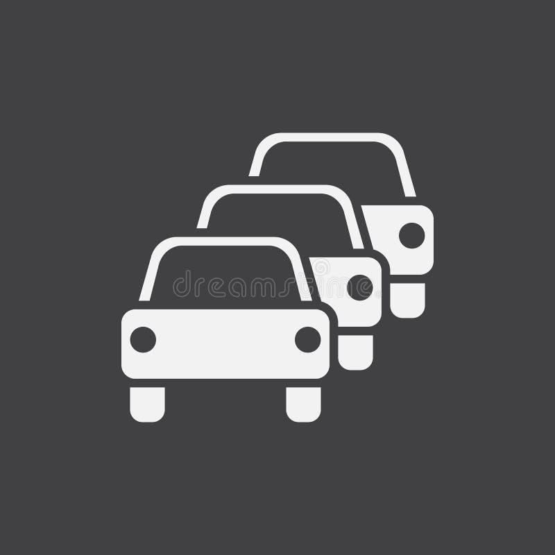 Trafikstockningsymbolsvektor, fast logoillustration, pictogram som isoleras på svart royaltyfri illustrationer